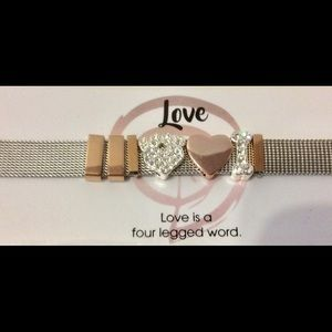 Watch band style stainless steel charm bracelet